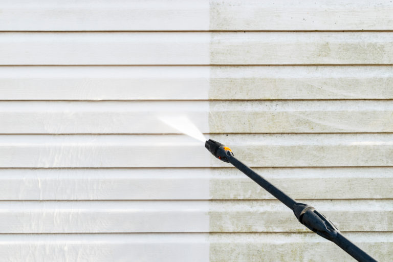 house cleaning with pressure washer