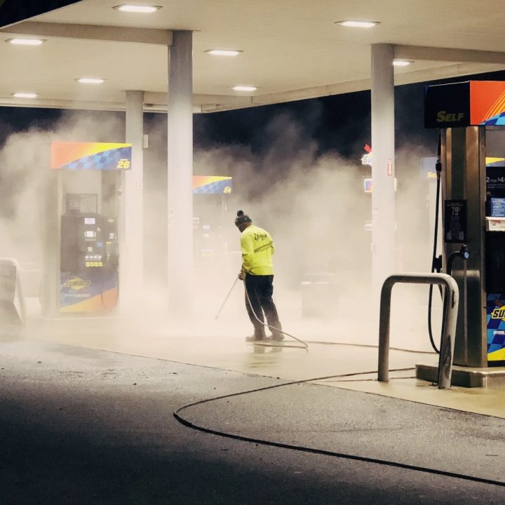 cleaning a gas station